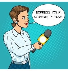 Woman reporter with microphone comic book vector