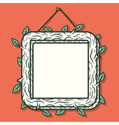 Wooden photo frame vector image