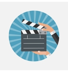 Abstract cinema clapper flat symbol icon vector