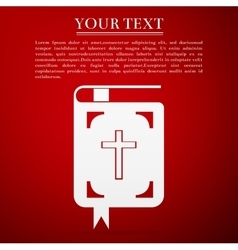 Bible flat icon on red background vector image