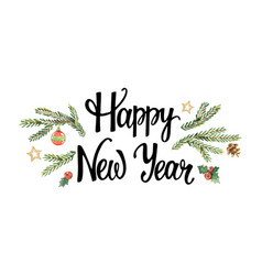 happy new year lettering with watercolor vector image vector image