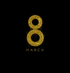 march 8 gold glow glitter effect vector image vector image