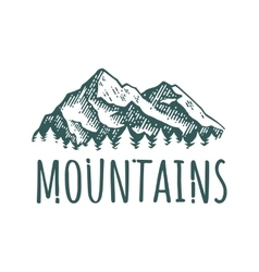 Mountain hand drawn retro logotype with lettering vector