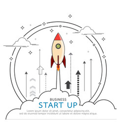 Rocket style in business concept flat line design vector