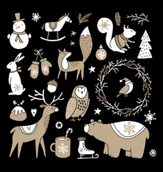 set of cute doodle sketches christmas clip-arts vector image vector image