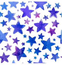 Blue watercolor painted stars seamless vector