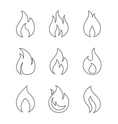 burning fire outline icons on white background vector image vector image