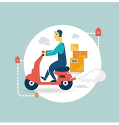 delivery scooter icon vector image vector image