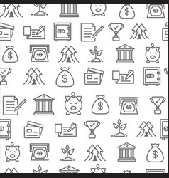 different line style icons seamless pattern bank vector image
