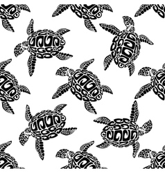 Marine turtles seamless background pattern vector image