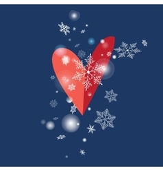 snowflakes and heart vector image vector image