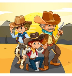 Three cowboys at the road vector