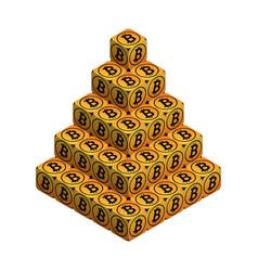 bitcoin orange large bitcoin pyramid vector image