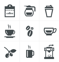 Coffee icons with White Background vector image vector image