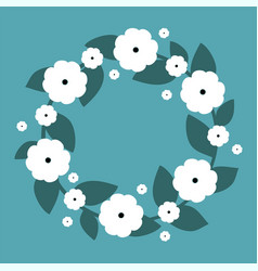 cute wreath with white flowers wreath vector image vector image