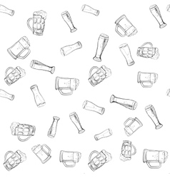 doodle beer glasses pattern vector image