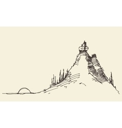 Sketch rider bicycle standing top hill vector image