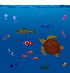 Underwater inhabitants sea life part 1 vector