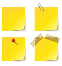 Yellow notice papers isolated on white vector image