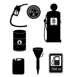 black silhouette fuel set icons vector image vector image