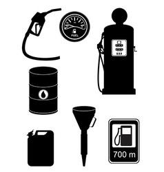 black silhouette fuel set icons vector image