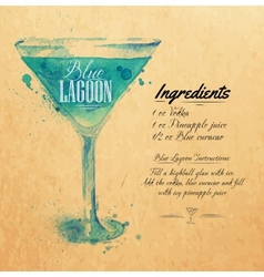 Blue Lagoon cocktails watercolor kraft vector image
