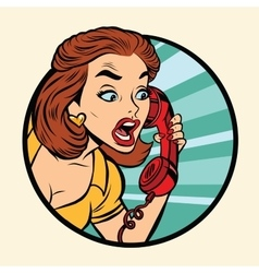 Comic woman talking on retro phone vector image vector image