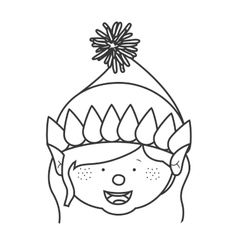 contour with gnome girl head vector image vector image
