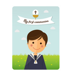 first communion child foreground invitation with vector image