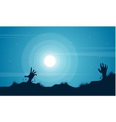 Hand zombie scenery halloween background vector