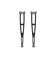 pair of crutches it is black icon vector image