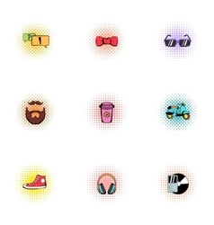 Subculture hipster icons set pop-art style vector image vector image