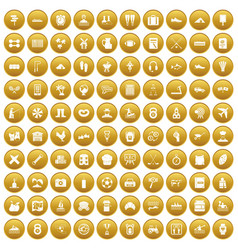 100 activity icons set gold vector