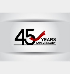 45 years anniversary design with red ribbon vector
