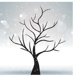 a tree against a winter and gray landscape with vector image
