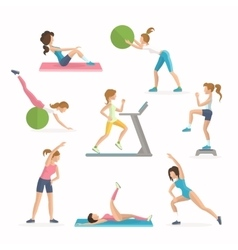 Aerobics fitness exercises Dropping excess fat vector image