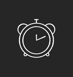 alarm clock chalk white icon on black background vector image