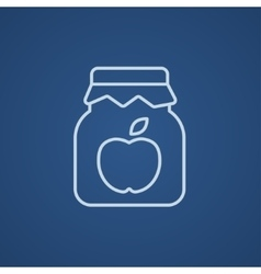 Apple jam jar line icon vector image