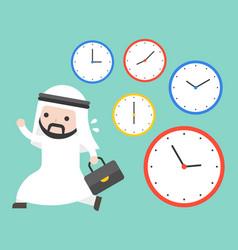 arab businessman running in rush hours and clocks vector image
