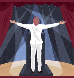 artist standing on stage with raised open arms vector image