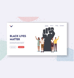 black lives matter blm landing page template vector image