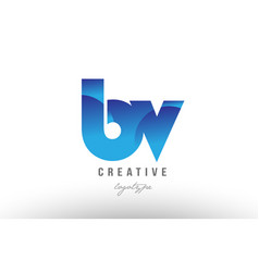 Blue gradient bv b v alphabet letter logo vector