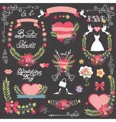Bridal shower decor kitFloral wreathheart vector