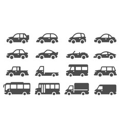 car icons black vehicle silhouettes automobiles vector image