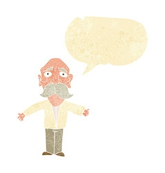Cartoon disappointed old man with speech bubble vector