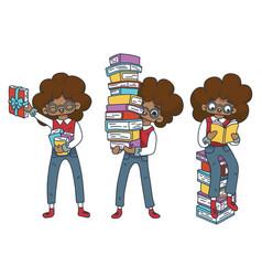 character set literary fan african nerd boy vector image