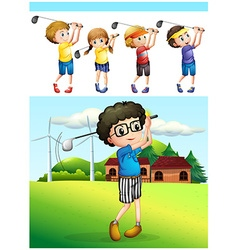 Children playing golf on the lawn vector image vector image