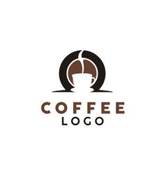 coffee bean smoke and cafe cup mug logo design vector image