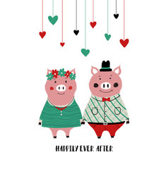 couple of pigs in love vector image