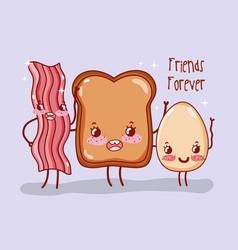 cute breakfast kawaii cartoons vector image